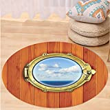 VROSELV Custom carpetNautical Decor Porthole On The Wooden Background Window Ship At The Old Sailing Vessel Bedroom Living Room Dorm Decor Round 79 inches