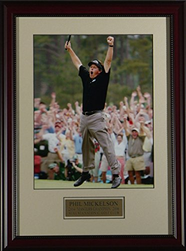 BirdieTown Sports Memorabilia Photo - Phil Mickelson Famous Jump 2004 Master's - Framed (16x22)