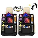 Luxury Kick Mats,Premium Car Back Seat Protector Organizer with Tablet Holder for Ipad & Android Tablets up to 10.5'' by Vouska (2 Pack),Updated Version