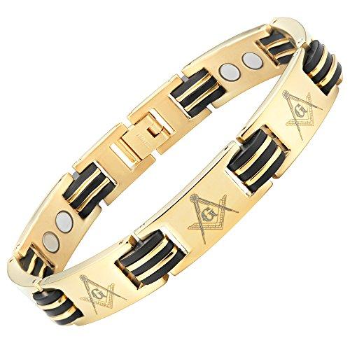 MasonicMan Men's Titanium Magnetic Bracelet with Masonic Logo Ajustable (Mens Bracelet Logo)