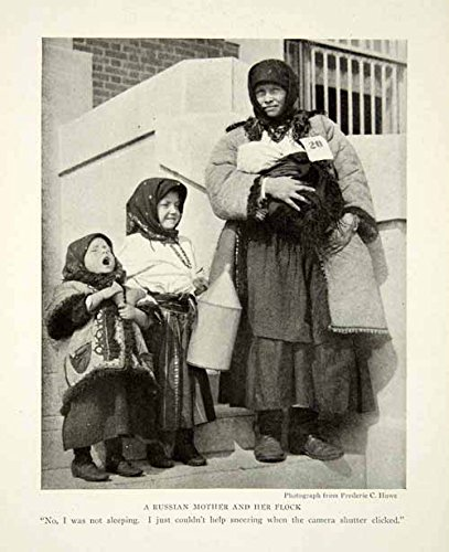 Russian Costumes Images (1917 Print Russian Mother Children Traditional Garb Costume Fashion Image NGM5 - Original Halftone Print)