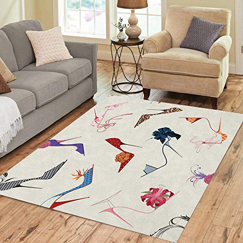 Pinbeam Area Rug Shoe High Heels Stiletto Pattern Luxury Flower Ribbon Home Decor Floor Rug 5' x 7' Carpet