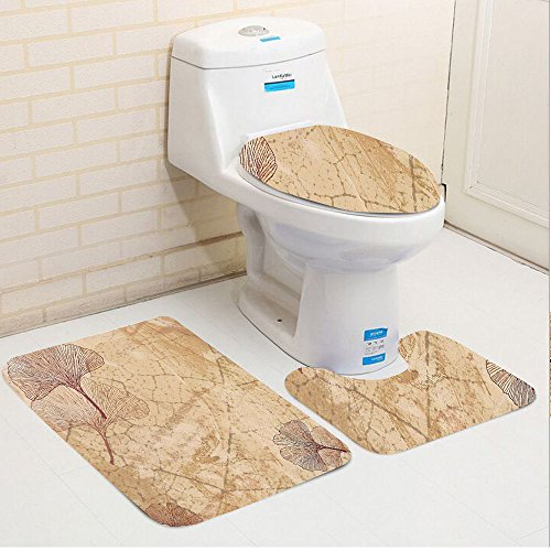 Keshia Dwete three-piece toilet seat pad customBeige Small Large Ginkgo Leaves Pattern Dramatic Dated Fossil Maidenhair Tree Nature Art Print Beige (Maidenhair Shell)