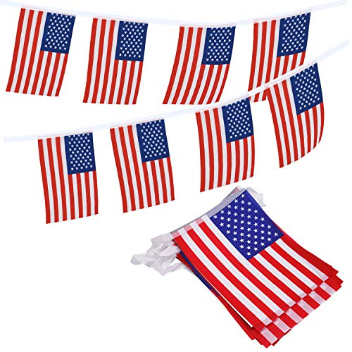 Livder American Flag Pennants Banners, 36 Feet with 40 Pieces USA Flags Banner for 4th of July Independence Day, Patriotic Events, Sports, Bars ()