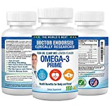 Omega 3 Fish Oil Pills - Dr Endorsed, Omega 3 Fatty Acids, Lemon Flavor Burpless, 180 Capsules, Triple Strength 2500mg, High EPA 900mg DHA 600mg, Non-GMO, Heart Health, Brain, Joint Support supplement
