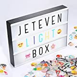 Jeteven A4 Light Box with 210 Pcs Letters Symbols and USB Cable Sign Box A4 Cinematic Letter Box LED Message Box for Home Wedding Party Decoration