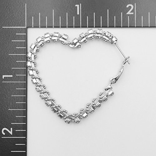 Heart Shaped Clear Rhinestone Love Bling Statement Hoop Earrings (Silver Tone) by Gypsy Jewels (Image #1)