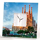 Barcelona Sagrada Familia Wall Printed Clock Framed Mirror Catalonia Gaudi Fan Art Home Decor Gift