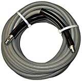 JGB Enterprises Eagle Hose Eaglewash I Wrapped Grey Modified Nitrile Pressure Washer Hose Assembly, 3/8'' NPT Male X NPT Male Swivel with Guards, 4000 psi Maximum Pressure, 25' Length, 3/8'' Hose ID
