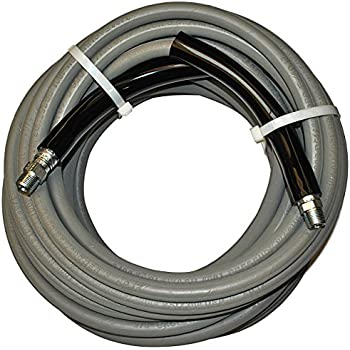 "JGB Enterprises Eagle Hose Eaglewash I Wrapped Grey Modified Nitrile Pressure Washer Hose Assembly, 3/8"" NPT Male X NPT Male Swivel with Guards, 4000 psi Maximum Pressure, 50' Length, 3/8"" Hose ID"