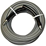 "Eaglewash I Wrapped Grey Modified Nitrile Pressure Washer Hose Assembly, 3/8"" NPT Male X NPT Male Swivel with Guards, 4000 Psi Maximum Pressure, 50' Length, 3/8"" Hose ID"