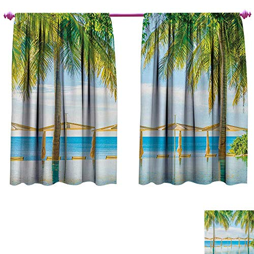 (cobeDecor Landscape Customized Curtains Exotic Beach with Pool Nature with Soft Sun Rays Fantastic Holiday Theme Print Blackout Window Curtain W55 x L39 Green Blue)