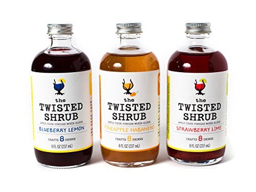 The Twisted Shrub - STRAWBERRY LIME + BLUEBERRY LEMON + PINEAPPLE HABANERO multipack (Pack of 3) - Apple Cider Vinegar drink mixers for healthier beverages