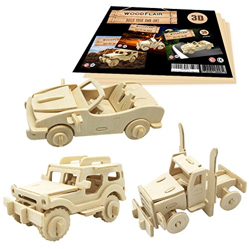 WoodFlair 3D Wooden Puzzle, Set of 3, Cars ()