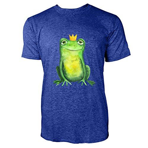 SINUS ART® Süßer Frosch mit Krönchen im Aquarell Stil Herren T-Shirts in Vintage Blau Cooles Fun Shirt mit tollen Aufdruck