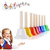 Colorful Hand Percussion Bells, 8 Note Diatonic Metal Hand Bell Kit for Toddler, Kid, Adults, Used for Festival, Musical Teaching, Church Chorus, Wedding, Family Party