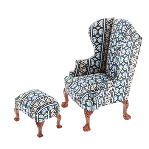 CUTICATE Miniature Dollhouse Wing Chair and Ottoman - Dolls House Furniture - 1/12 Scale (Navy Blue)