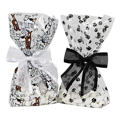 Saybrook Products Puppies/Paw Prints Cellophane Treat/Party Favor Bags with Twist-Tie Organza Bow. Set of 10 Ready-to-Use, Gussetted 11x5x3 Goodie Bags with 5 White Bows, 5 Black Bows