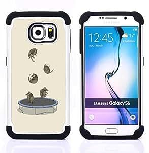 """Pulsar ( Trampolín divertidos de la historieta linda de los animales"""" ) Samsung Galaxy S6 / SM-G920 SM-G920 híbrida Heavy Duty Impact pesado deber de protección a los choques caso Carcasa de parachoques [Ne"""