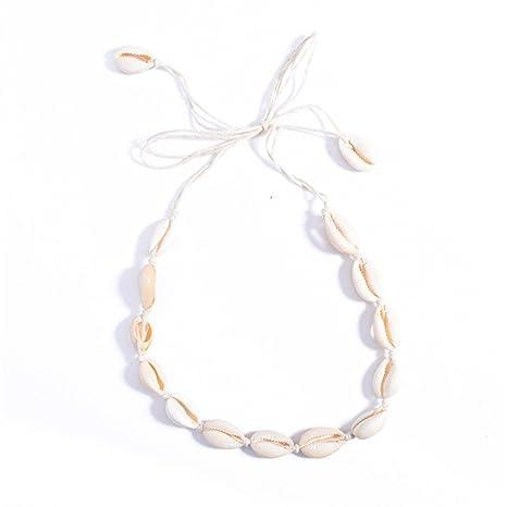 02237e65edc4 JuanYa - Collar gargantilla para damas playa bohemia terciopelo conchas  cadena cuerda borla collar
