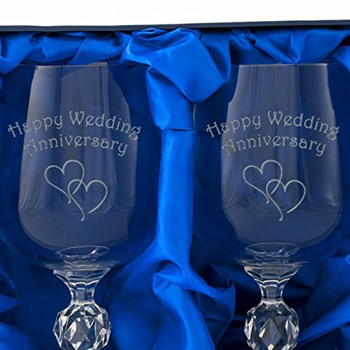 Pearl 30th Wedding Anniversary A Pair Of Crystal Wine Goblets In