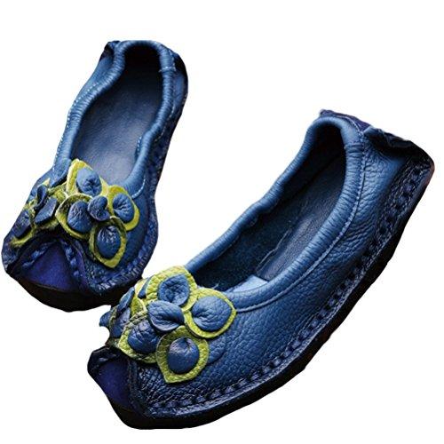 Vogstyle Mujeres Primavera Otoño Vendimia Flor Hecho A Mano Cuero Zapatos Pisos Azul