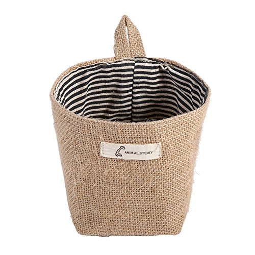 Colorido Mini Jute Hanging Storage Pouch Basket Laundry Container Home Cleaning Supplies