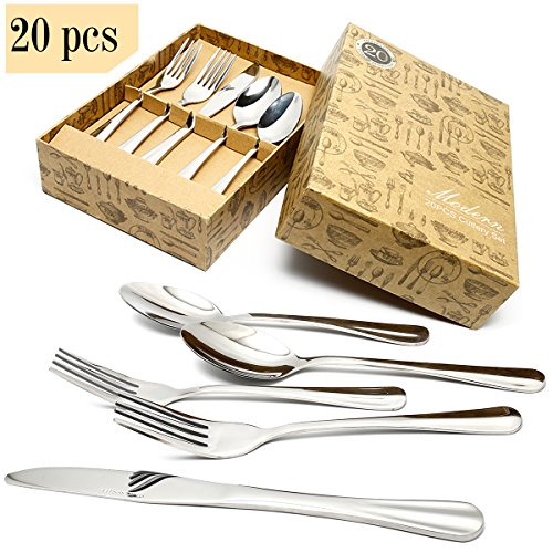 HOBO 20-Piece Flatware Sets, Stainless Steel Cutlery set, Mirror Polishing Cutlery Sets, Delicate and Practical Tableware sets, Restaurant Tableware Utensil Sets Multipurpose Use for Home