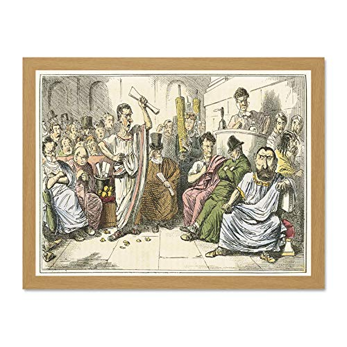 Doppelganger33 LTD Painting Book Comic Rome Leech Cicero Denounces Catiline Large Framed Art Print Poster Wall Decor 18x24 inch Supplied Ready to ()