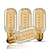 DORESshop T45 40W Vintage Antique Light Bulbs, Warm White, E26 Edison Tubular Style,Clear Glass,110-130 Volts, Filament Light Bulbs for Home Light Fixtures Decorative(4 Pack)