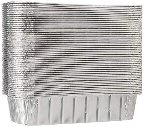 TYH Supplies 50-Pack Aluminum Foil BBQ Grease Drip Pans Compatible with Weber Genesis II LX 400 & 600, Summit 400 & 600 Series, and Summit Gold & Platinum 6-Burner Model Gas Grill 9.75 x 3.75 Inch (Six Burner Gas Grill)