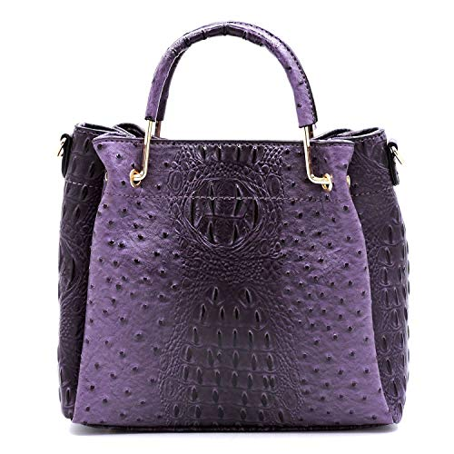 Vegan Faux Leather Ostrich Croco Embossed Crossbody Medium-Small Handbags with Metal Top Handle (Purple)