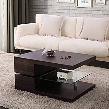 Mecor Design Coffee Table Swivel Coffee Table With Glass Amazon Co