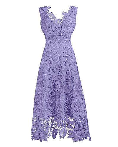KIMILILY Women's V neck Sleeveless Floral Lace Bridesmaid Homecoming Dresses(p,L)