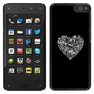 LECELL--Funda protectora / Cubierta / Piel For Amazon Fire Phone -- espejo del corazón del corazón negro Bling --