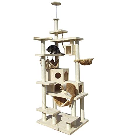 Daeou Árbol para Gatos rascador Gato Madera Maciza Grande de Varios Pisos Plataforma Gato Nido Gato