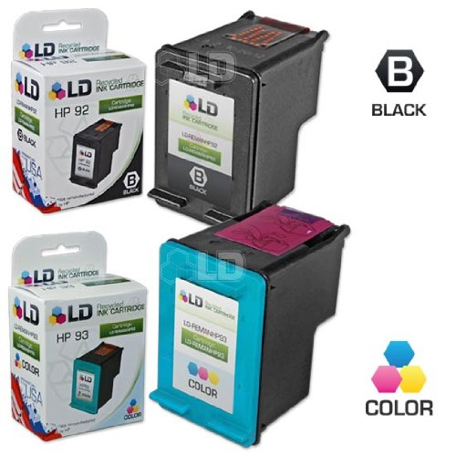 LD © Remanufactured Replacement Ink Cartridges for Hewlett Packard (HP) C9362WN (HP 92) Black and C9361WN (HP 93) Color (1 Black and 1 Color)
