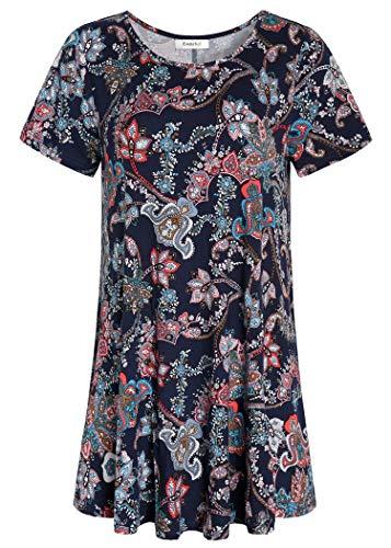 Esenchel Women's Tunic Top Casual T Shirt for Leggings 2X Paisley Floral