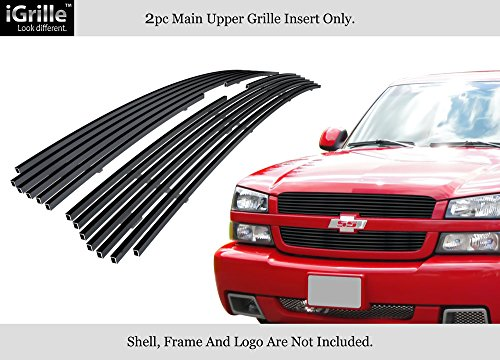 APS Stainless Steel 304 Black Billet Grille Grill Custome Compatible with 02-05 Chevy Silverado 1500 Avalanche