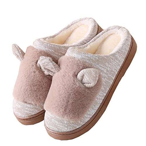 shoes Knitted Unisex warm cat home fabric ears slippers cotton boot plush winter Camel PrqPBwH