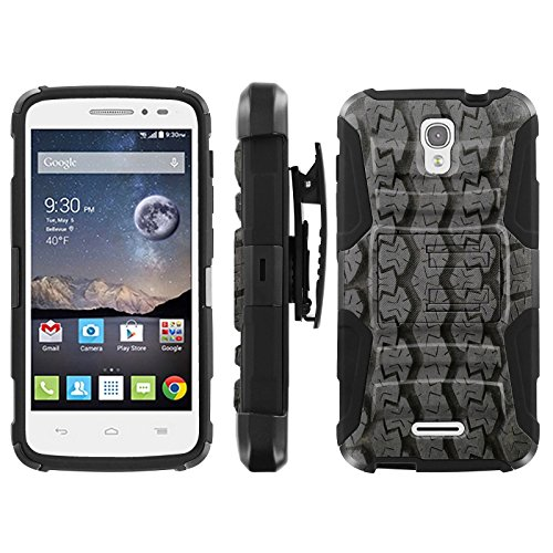 (Tire Tracks - Blitz Hybrid Armor Case for [Alcatel One Touch Pop Astro 5042N 5042T] with Kickstand and Holster- )