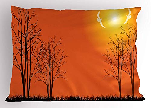 K0k2t0 Scenery Pillow Sham, Sunshine Colored Trees and Big Sun with Trees on a Grass Landscape Artwork, Decorative Standard Queen Size Printed Pillowcase, 30 X 20 inches, Orange and Black