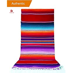 "New | Alondra's Imports®️ (84"" x 15"") Elegantly Handwoven, Genuine Serape Table Runner (Mexican Table Runner, Fiesta Table Runner, Mexican Blanket, Zarape, Serape) (Regal Red)"