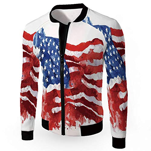 Bomber Biker Coat,American,Military Patch Light Weight Bomber Jacket,Flag of AME