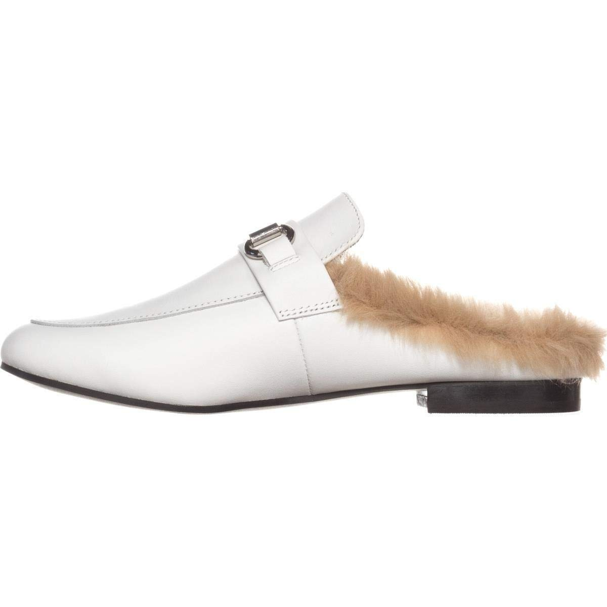 44ab5e573c9 Steve Madden Womens Jill Leather Almond Toe Mules, White, Size 8.5