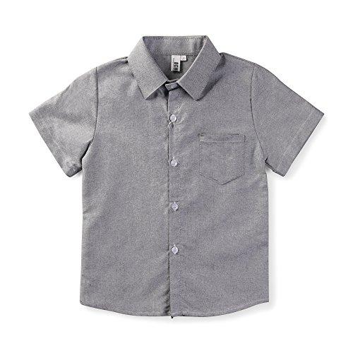 OCHENTA Little Boys' Short Sleeve Button Down Oxford Shirt, Big Kids Casual Dress Tops Grey Tag 130CM - 6-7 Year]()