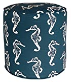 Metje Seahorse Pouf-Ottoman, 17″ Cylinder, Navy For Sale