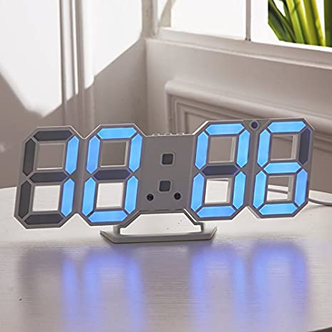 MYAMIA Digital Moderna Grande Led Pared Esqueleto Reloj Temporizador 24/12 Horas Display 3D Gife-Azul: Amazon.es: Hogar