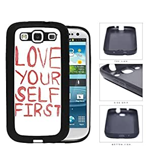 Love Your Self First Red Paint Rubber Silicone TPU Cell Phone Case Samsung Galaxy S3 SIII I9300