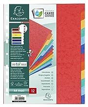 Exacompta 2412E - Juego de 6 separadores de cartulina lustrada DIN A4+, colores vivos